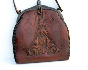 Antique Art Nouveau Leather Purse// Jemco Arts and Crafts Purse // Tooled Leather Wristlet // 1918
