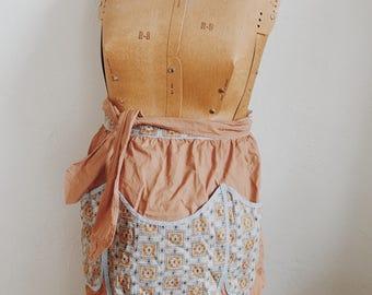 Vintage apron, Retro kitchen apron, Three pocket apron, vintage brown and blue apron
