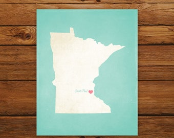 Customized Printable Minnesota State Map - DIGITAL FILE, Aged-Look Personalized Wall Art