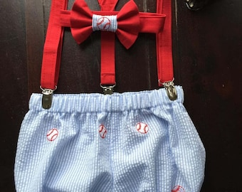 Baseball First Birthday Cake Smash Set; Bow tie, Suspenders, and diaper cover handmade by TwoLCreations