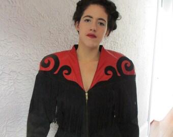 80's Vintage Black & Red Fringe Leather Goth Steampunk jacket med.