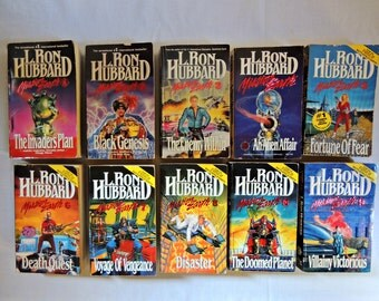 Mission Earth Collection by L. Ron Hubbard - Paperback Books Lot of 10 / Spy Mystery Science Fiction / L. Ron Hubbard Collection