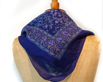 Vintage royal blue/purple pure Indian silk scarf, hand rolled hem