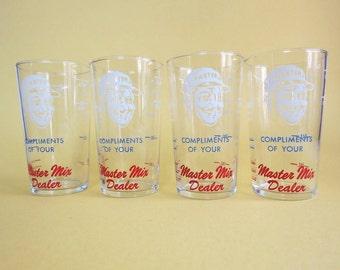 Master Mix Advertising Measuring Glass Set of 4 Vintage Master Mix Dealer Glasses