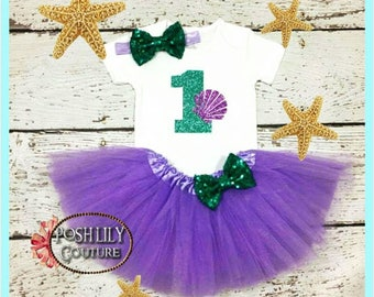 First birthday mermaid Outfit, sparkly shell one bodysuit and tutu set, toddler mermaid birthday, purple and teal mermaid tutu set~~