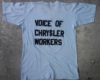 UAW member's vintage 70's pocket t-shirt with felt letters- Voice of Chrysler Workers- size M-unique.  NOTE: shop holiday-ships September 1