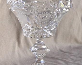 Vintage Pedestal Compote Etched & Cut Glass BOWL
