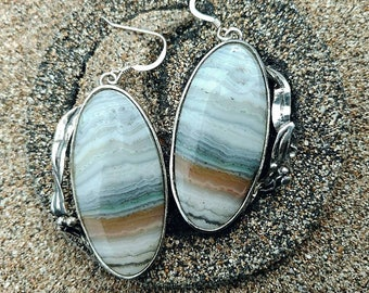 Banded agate earrings, sterling silver earrings, Art Nouveau jewelry, blue banded agate, silver earrings, large oval earring, silver dangle