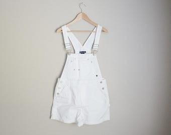 vintage medium white cotton shortalls overall shorts -- womens medium
