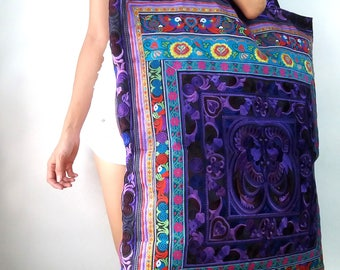 XL Oversize Hmong Old Vintage Style Unique Ethnic Thai Extra Large Tote Bag