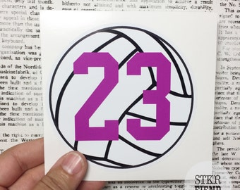 volleyball number personalized vinyl sticker, your choice of accent color