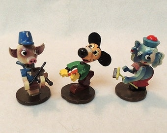 3 Vintage Wooden Hand Painted Spring Bobble Head Nodders.. Pig, Mouse & Elephant