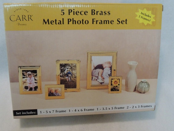 5 Piece Polished Brass Metal Photo Frame Set By Burnes Of Boston.. NIB New Old Stock In Original Box