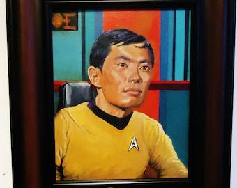 """Star Trek Painting George Takei as Sulu in Original 1960s Star Trek tv series Sulu 8x10"""" framed portrait"""