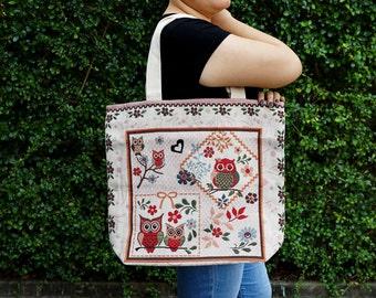 Large Canvas Tote Bag - Owl Design Grocery Bag - Canvas Tote Shopping handbag - Owl Market Bag with Cotton Handles