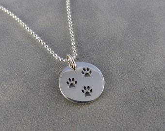 Sterling Paw Print Charm Necklace - 3 Paw Prints, Dog Paw, Cat Paw, Pet Jewelry