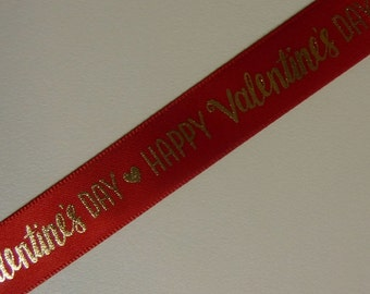Red Valentine's Day Word Ribbon 3 Yards
