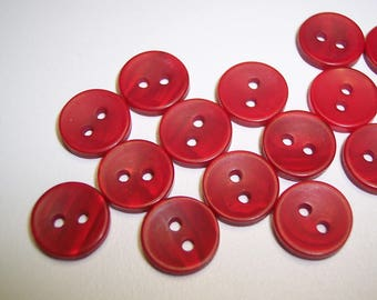 26 Red Frosted Swirl Round Buttons Size 7/16""