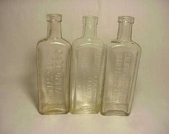 Set of Three c1890-1920 California Fig Syrup Cork Top Extract Bottles