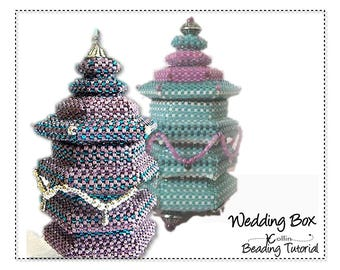 Beading Patterns, Instructions, Tutorials,  Peyote Stitch Hexagonal Box with Tall Lid Delica Beads Instant Download Pattern WEDDING BOX