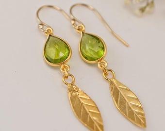 40 OFF - Peridot Topaz earrings - Gold Leaf Earrings - Birthstone Earrings - Gemstone earrings - Gold drop earrings - Dangle Earrings