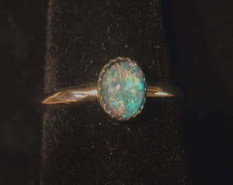 OPAL RING australian size 8 up to size 9 sterling