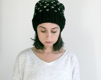 Fair Ilse Hat,Pom Pom Hat,Slouch Beanie,Winter Hat// Black and Fisherman // THE EPSON HAT