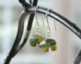 Rainforest Jasper Earrings, Bear Earrings, Rhyolite Jasper Earrings, Green Earrings