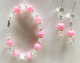 Pink Dangle Earrings, Pink Bracelet, Pink Jewelry, Pink Beaded Bracelet, Beaded Earrings, Beaded Jewelry, Bracelet, Earrings, Jewelry