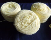Three Skeins of Pale Yellow 2 Ply Yarn, Vintage
