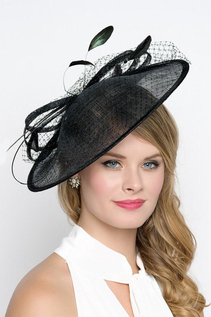 Black Fascinator Hat Wendy Wide Slightly Brimmed