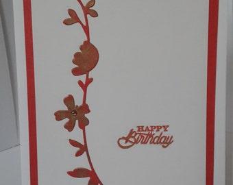 Elegant handmade Happy Birthday card. Minimalist red, white with gold distressing.