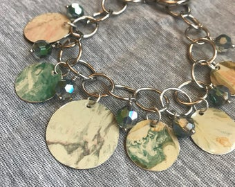 Pastel Watercolor Vintage Tin Charms and Beaded Bracelet