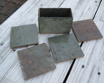 Special listing for Meghan and Phil. Wedding bridal registry set of four slate coasters and slate box holder. Two sets registered. #CS-2