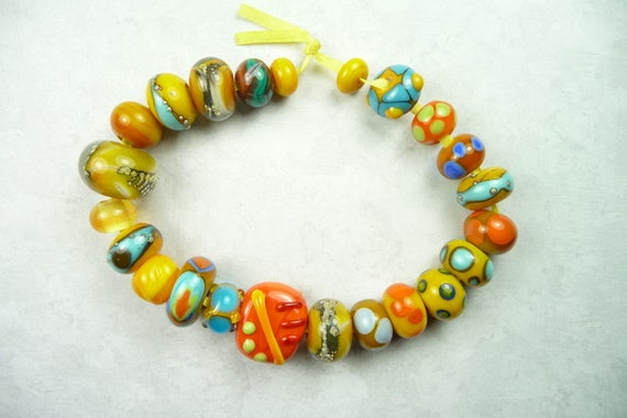 Lampwork Glass Bead Set of Mixed Multicolored Orange and Blue Beads- set of 23