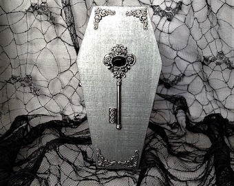 Silver Victorian Filigree Key Goth Wood Coffin