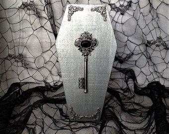 Silver Victorian Filigree Key Goth Wood Coffin