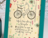 Keep Moving - Bicycle artwork - 6x8 framed artwork - inspirational art by amylee weeks