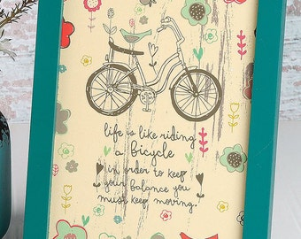 Keep Moving - Bicycle artwork - 6x8 framed artwork - inspirational art by amylee weeks