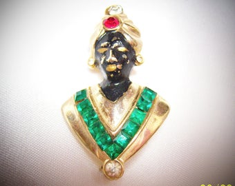Vintage Blackamoor Small Unsigned Finely Crafted Brooch