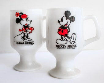 Vintage Mickey and Minnie Mugs, Vintage Mickey Mouse, Vintage Minnie Mouse, Vintage Disney, Ceramic Pedestal Coffee Mug, Mickey Milkglass