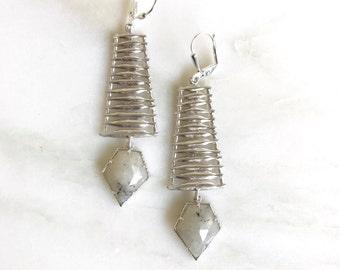 Unique Labradorite Arrow Dangle Earrings in Silver. Long Grey Dangle Earrings.  Chandelier Earrings.  Fashion. Drop. Modern Jewelry. Gift.