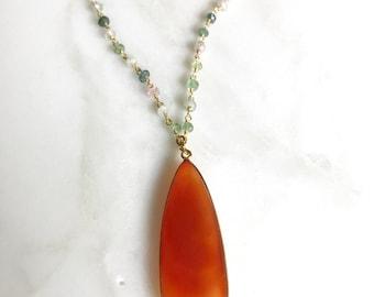 Carnelian Pendant Statement Necklace. Layering Necklace. Orange Stone Necklace. Colorful Gold Necklace. Boho Jewelry. Pendant. Gift.