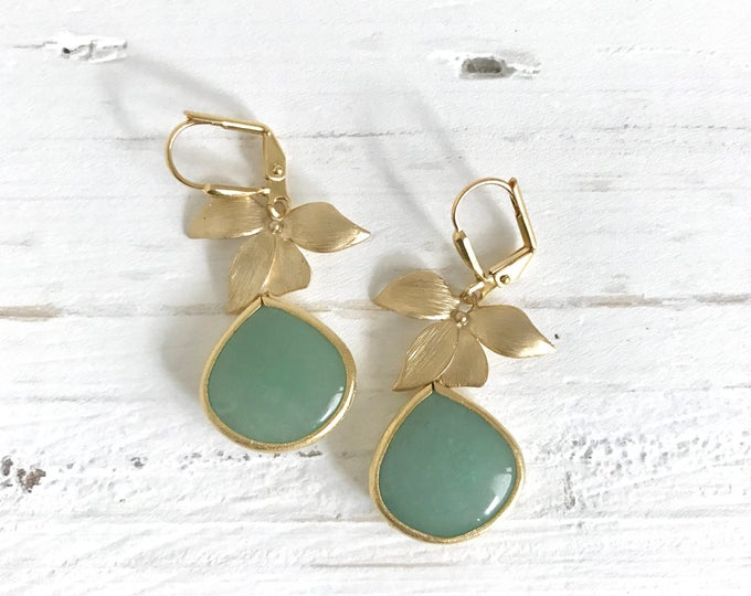 Green Teardrop and Gold Orchid Drop Earrings. Sage Green Dangle Earrings. Jewelry Gift for Her.