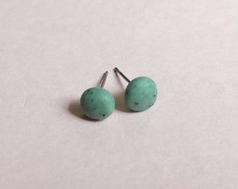 Green studs, clay earrings, pale green earrings, quirky earrings, clay jewellery, pistachio earrings, clay studs
