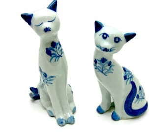 Two Porcelain Cats - Vintage Blue and White Ceramic Cat Figurines with Floral Design - Andrea by Sadek