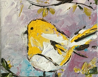 4X6 inches painting, acrylic art , palette knife painting, birdie painting, little birdie, original painting, bird, bird painting,cute bird