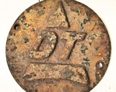 "Rusty Round Metal Salvage Medallion - ""D"" ""T"" Initials - Paperweight - Industrial Salvage"