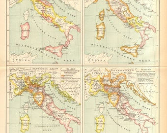 1895 Original Antique Historical Map of Italy, Under the Rule of the Lombards, in 1050, by the Time of the Napoleonic Wars, and in 1815