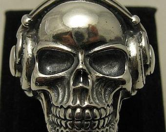 Sterling silver solid 925 skull DJ ring biker pendant